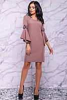 Платье карандаш цвета кофе с вышивкой 3030