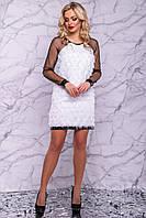 Праздничное платье футляр белое 3020