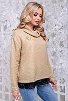 Женственная кофта-свитер из ангоры-травка кофейного цвета 2839, фото 1
