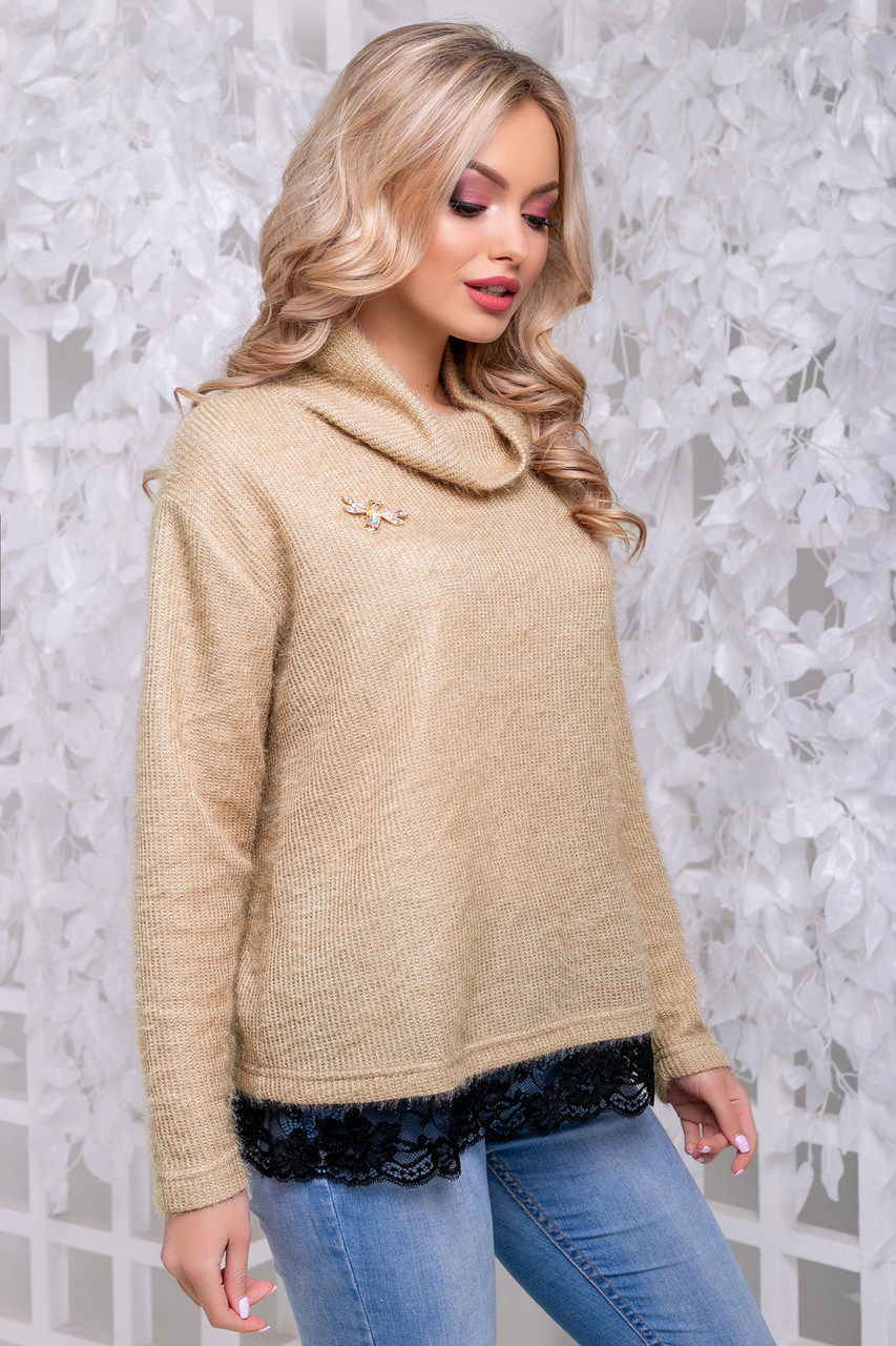Женственная кофта-свитер из ангоры-травка кофейного цвета 2839