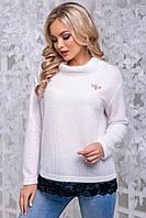 Женственная кофта-свитер из ангоры-травка белого цвета 2837, фото 1