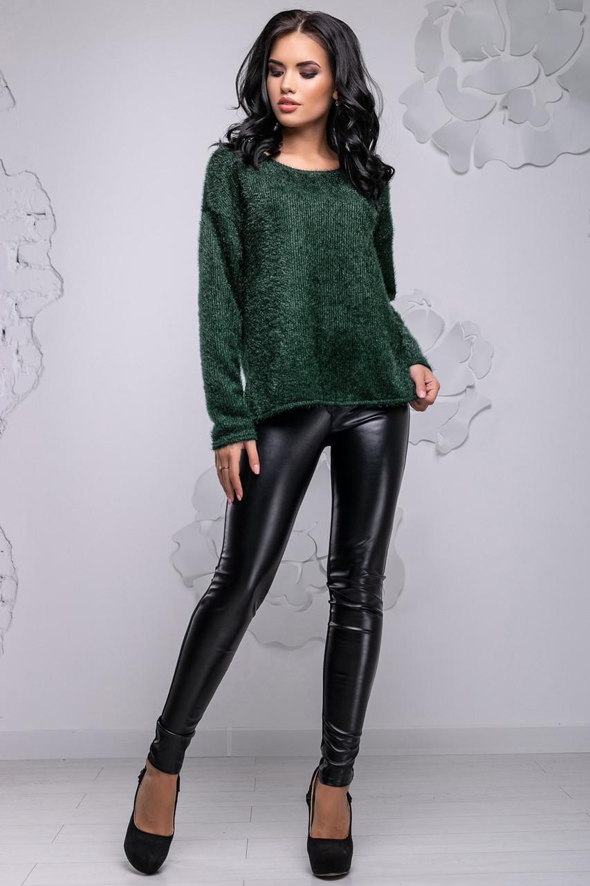 Темно-зеленый свитер из ангоры-травки 2738