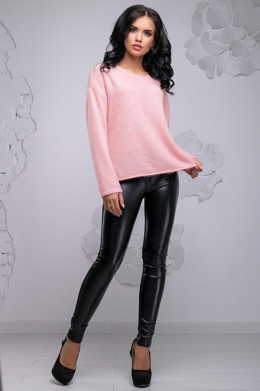 Персиковый свитер из ангоры-травки 2733