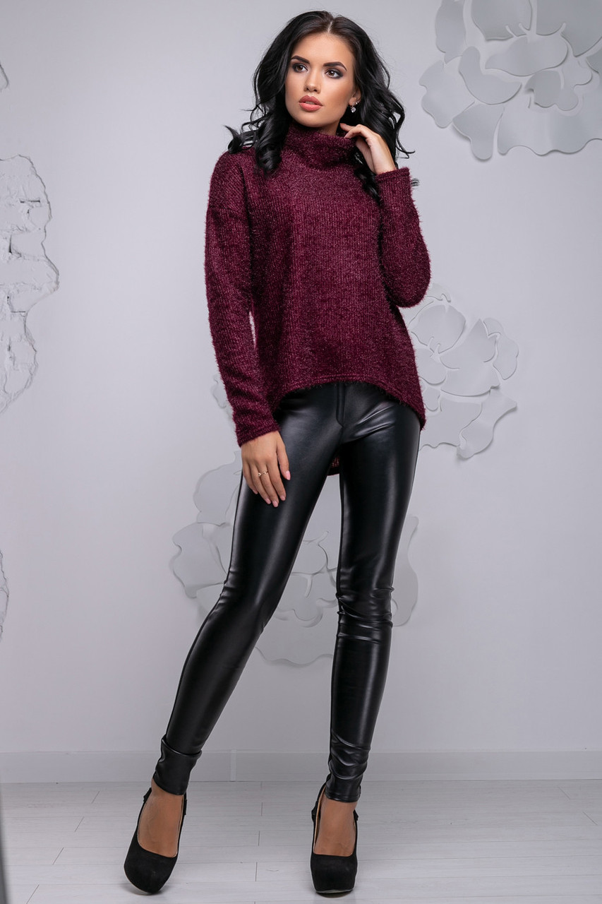 Свободная женская кофта из ангоры-травки цвета марсала 2731