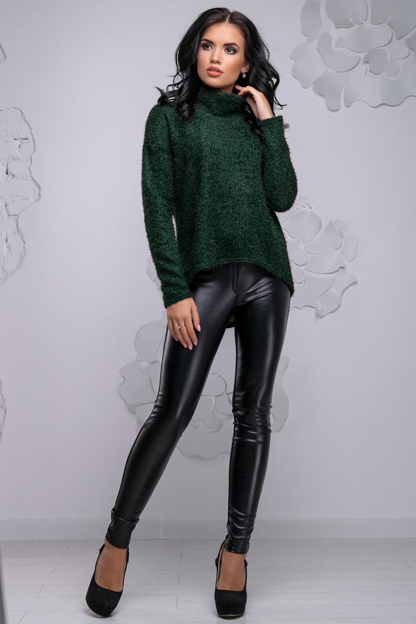 Свободная женская кофта из ангоры-травки темно-зеленого цвета 2730