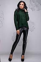 Свободная женская кофта из ангоры-травки темно-зеленого цвета 2730, фото 1