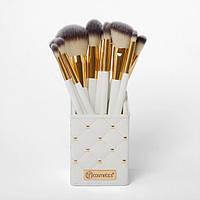 Набор кистей в подставке White Studded Elegance 12-Piece Brush Set BH Cosmetics Оригинал