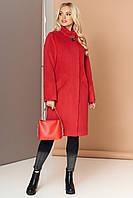 Красное кашемировое женское пальто демисезонное