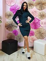 Женское платье-туника темно-бирюзового цвета 767