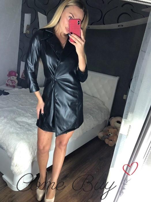 Кожаное платье на запах в расцветках 56py2350