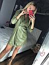 Кожаное платье на запах в расцветках 56py2350, фото 2