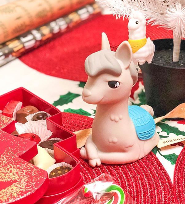 Детский светильник ночник-игрушка с таймером и 5 режимами подсветки Dhink Альпака, серая