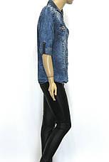 Женская джинсовая рубашка cо стразами , фото 2