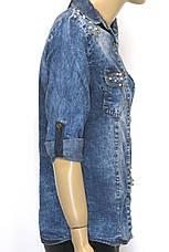 Женская джинсовая рубашка cо стразами , фото 3