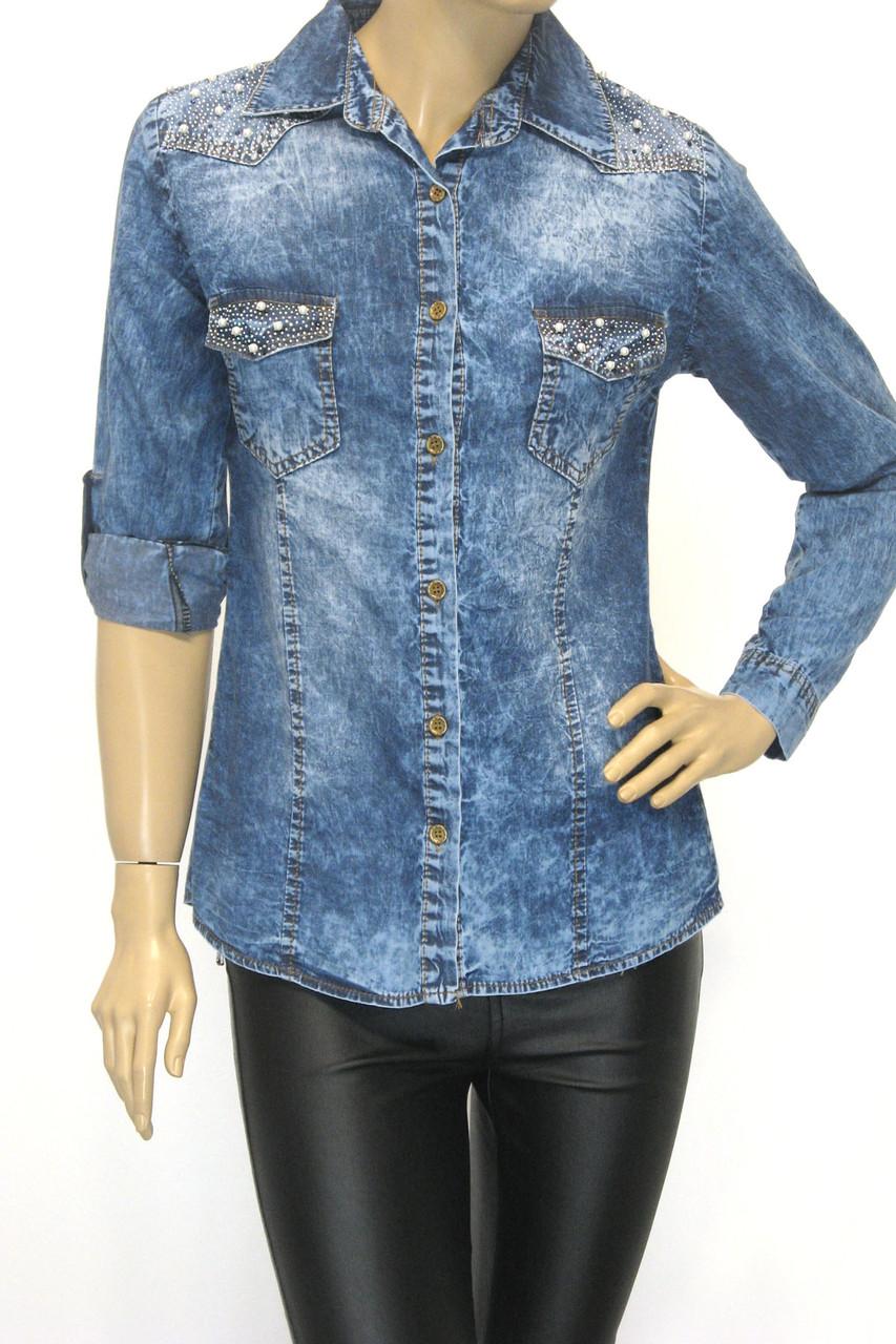 Женская джинсовая рубашка cо стразами