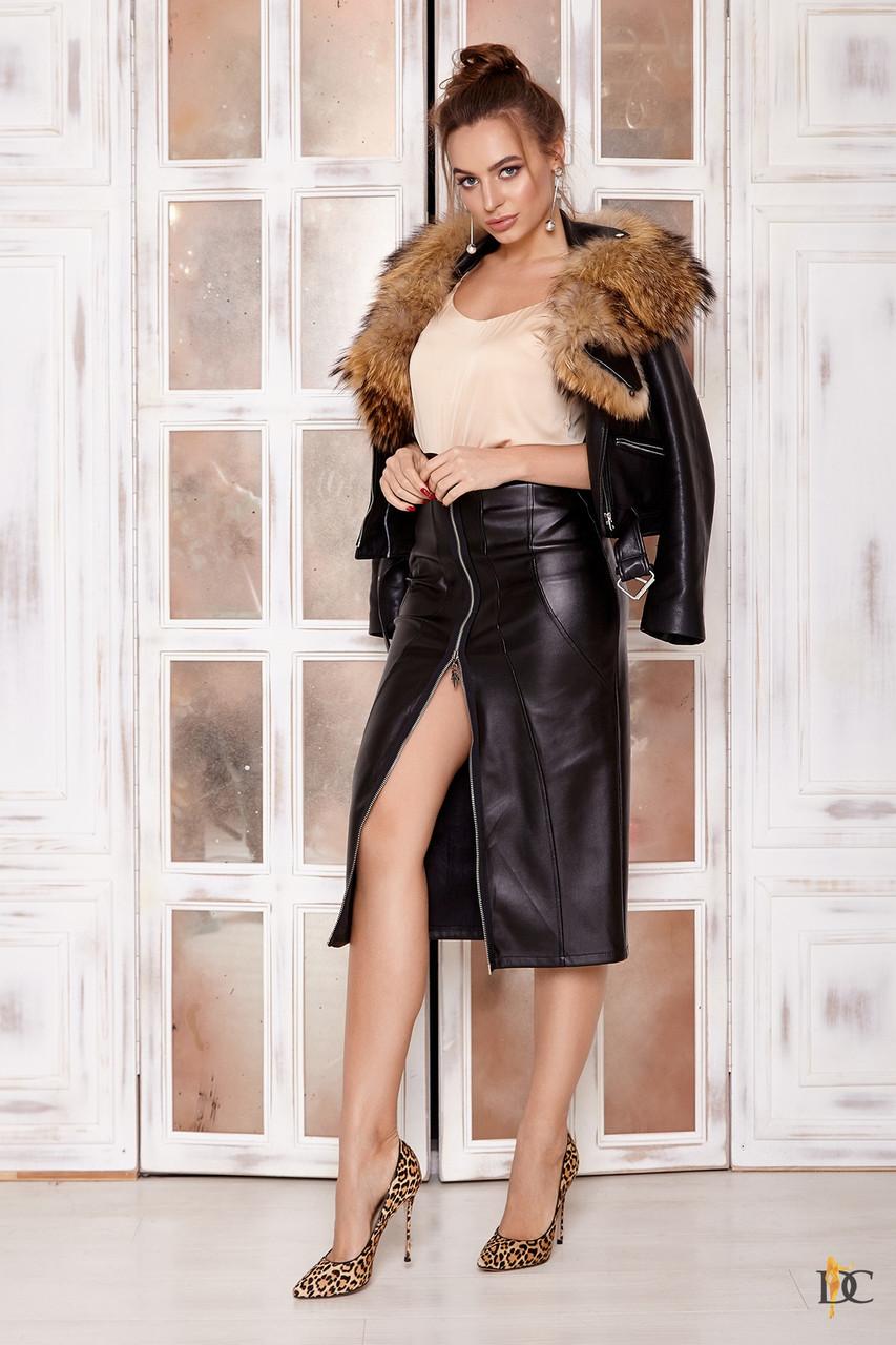 Женская кожаная юбка миди на молнии спереди 31si165