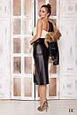 Женская кожаная юбка миди на молнии спереди 31si165, фото 2