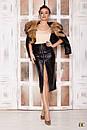 Женская кожаная юбка миди на молнии спереди 31si165, фото 3