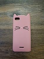 Объемный 3d силиконовый чехол для Xiaomi Redmi 6a Кошечка усатая розовая