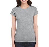Футболкa женская приталенная светло-серая, Gildan, Канада 100% хлопок, плотность 153 г/м2, фото 1