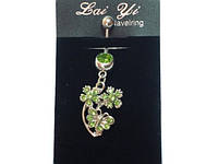 Пирсинг, 2 цветка и бабочка,  зеленые стразы     17_1_125a5