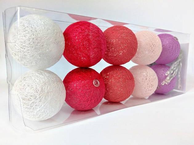 Гирлянды декоративные Cotton Balls 10led, диам 6см, длина 180см на батарейках АА #3, фото 2
