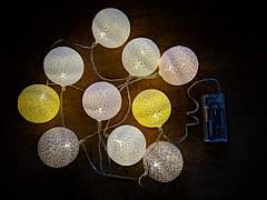 Гирлянды декоративные Cotton Balls 10led, диам 6см, длина 180см на батарейках АА #4, фото 2