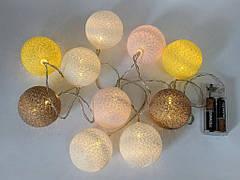 Гирлянды декоративные Cotton Balls 10led, диам 6см, длина 180см на батарейках АА #4, фото 3