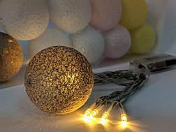 Гирлянды декоративные Cotton Balls 10led, диам 6см, длина 180см на батарейках АА #9, фото 2