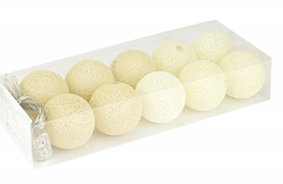 Гирлянды декоративные Cotton Balls 10led, диам 6см, длина 180см на батарейках АА #10