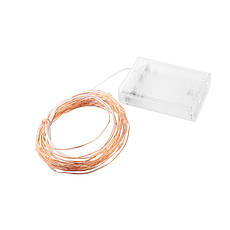 Светодиодная гирлянда нить 4.5м 50led на батарейках золотая теплая Warm White, фото 3