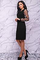 Вечернее демисезонное платье черного цвета 3034