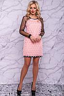 Вечернее платье реглан персиково-бежевого цвета 3021