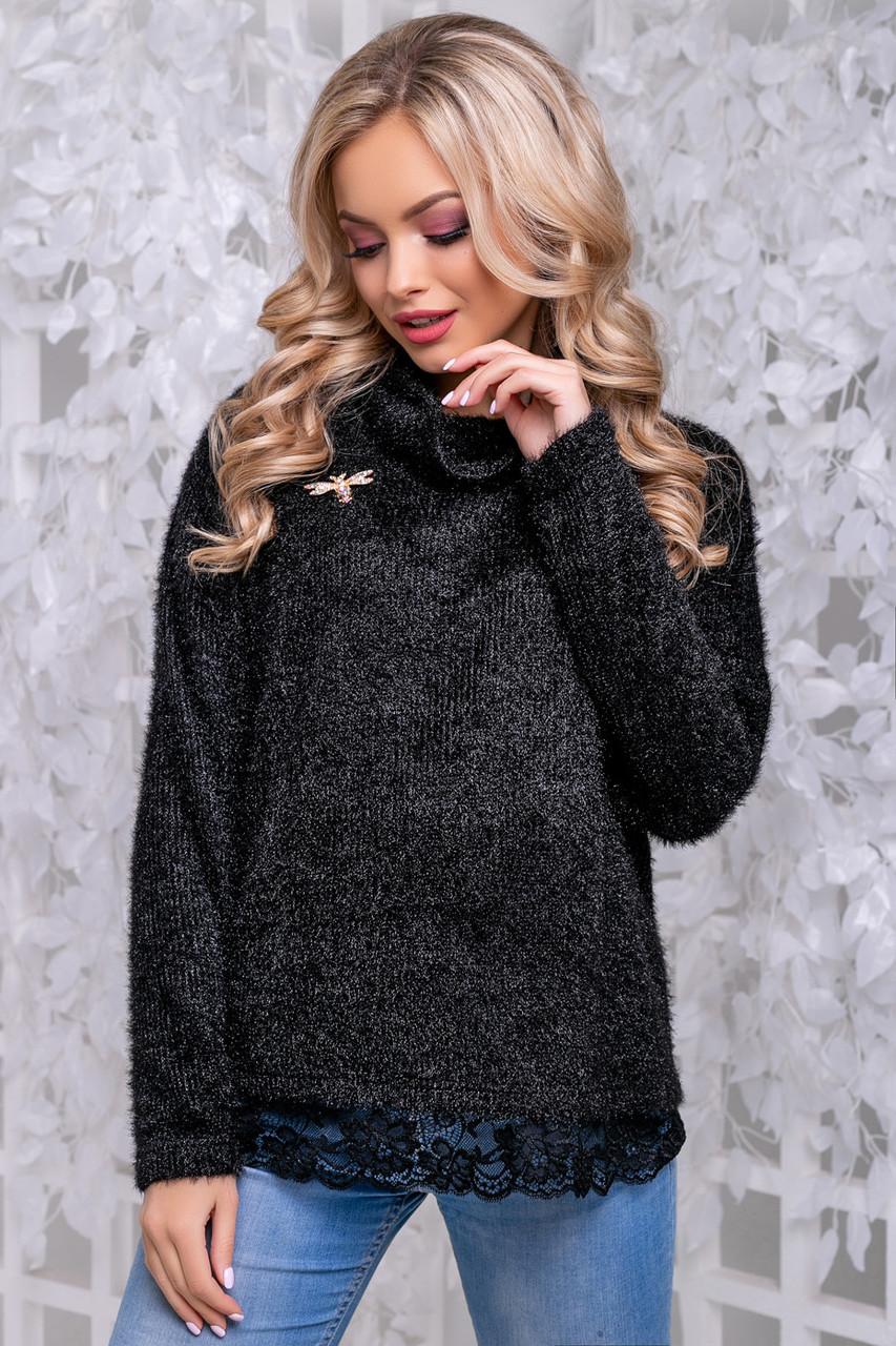 Женственная кофта-свитер из ангоры-травка черного цвета 2838