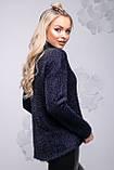 Свободная женская кофта из ангоры-травки темно-синего цвета 2735, фото 3