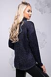 Свободная женская кофта из ангоры-травки темно-синего цвета 2735, фото 4