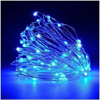 Гирлянда светодиодная нить 5 м 50 led (синяя) Blue на батарейках #13, фото 2