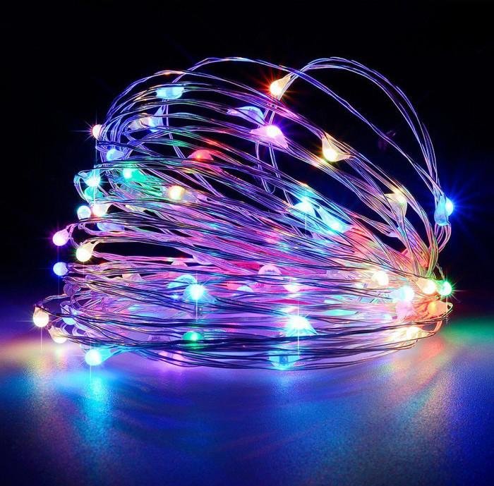 Гирлянда светодиодная нить 5 м 50 led (разноцветная) Multicolor на батарейках #14