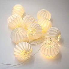 """LED гирлянда """"бумажные фонарики"""" 2м 10 шариков на батарейках #20, фото 2"""