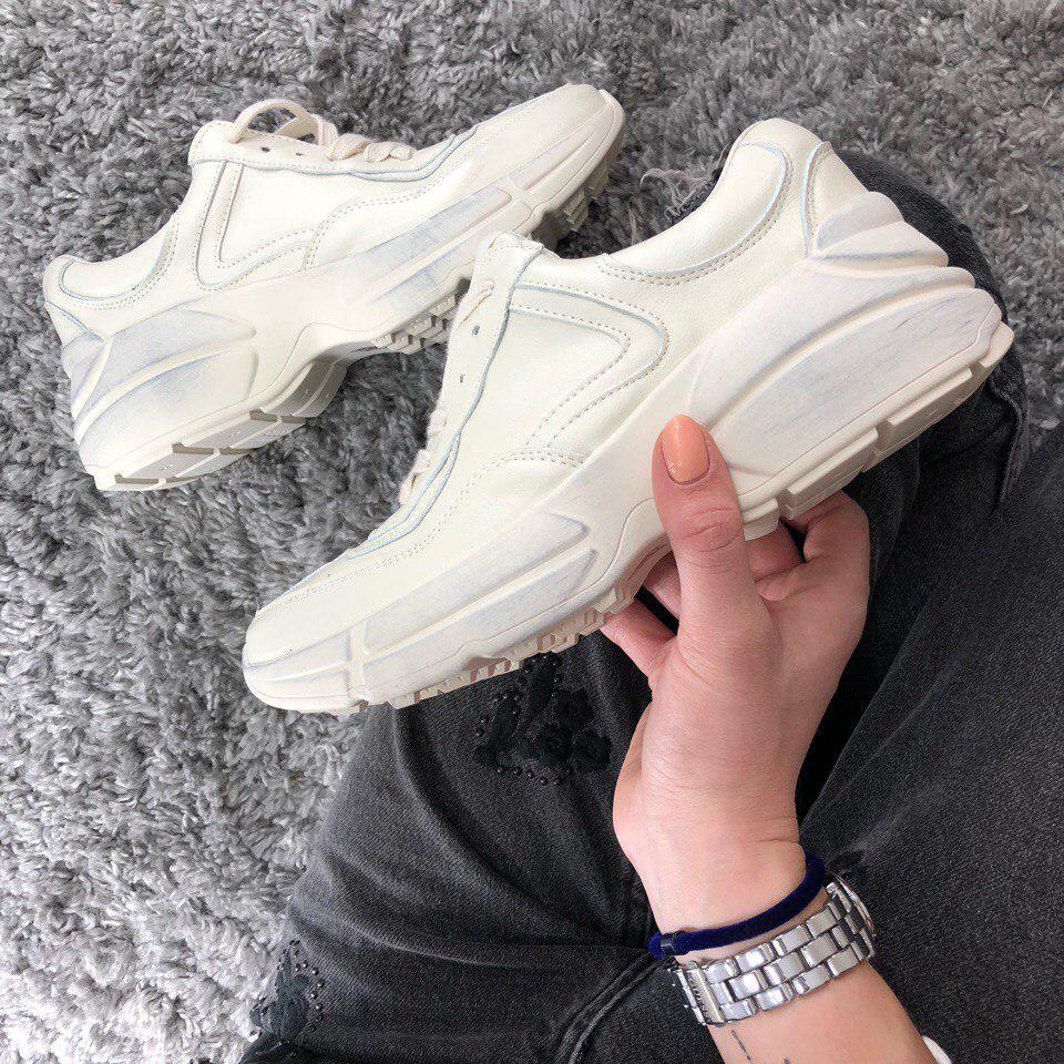 Женские кроссовки Gucci Retro белые с оттенком грязи. Живое фото (Реплика ААА+), фото 1