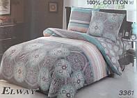 Сатиновое постельное белье евро ELWAY 3361 Индия