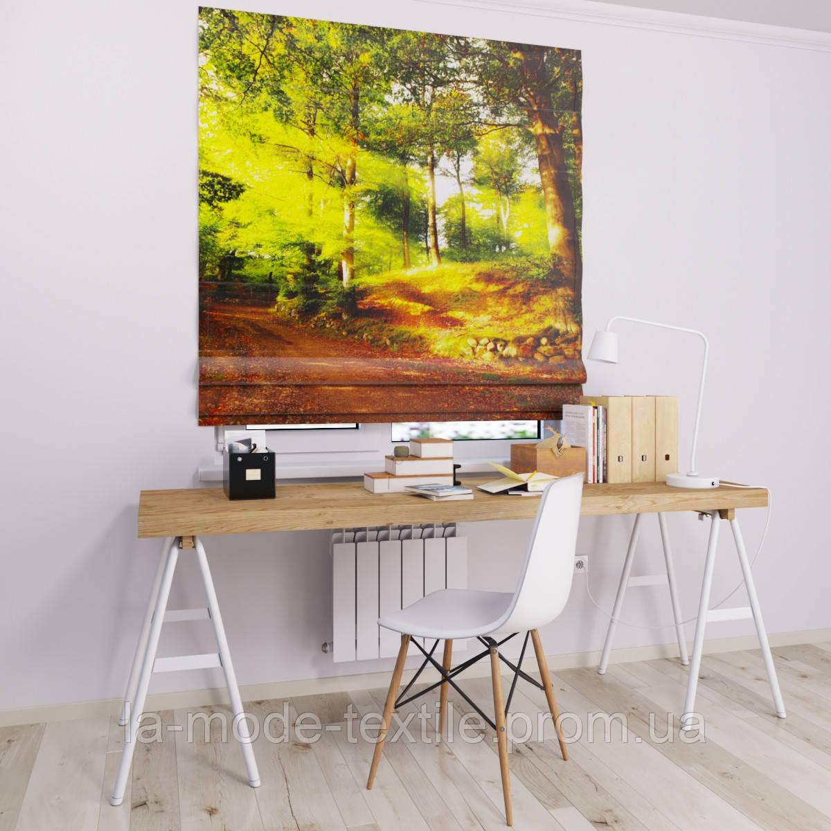 Римская штора с фотопечатью Сосновый лес
