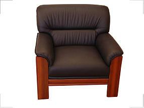 Кресло Elegant-1S Орех Кожа Люкс Комбинированная Черная (Диал ТМ)