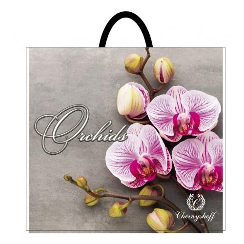 Полиэтиленовый пакет с пластиковой ручкой (сумка) ''Орхидея розовая'' 380*340, 10 шт
