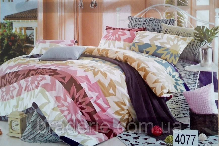 Сатиновое постельное белье евро ELWAY 4077 Абстракция цветы