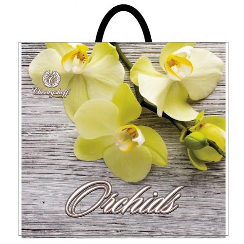 Полиэтиленовый пакет с пластиковой ручкой 380*340 мм Желтые орхидеи