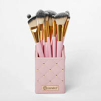 Набор кистей в подставке Pink Studded Elegance 12-Piece Brush Set BH Cosmetics Оригинал
