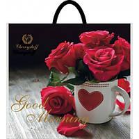 Полиэтиленовый пакет с пластиковой ручкой (сумка) ''Роза в чашке'' 380*340, 10 шт