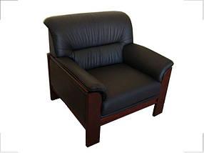 Кресло Elegant-1S Палисандр Кожа Люкс Комбинированная Черная (Диал ТМ)
