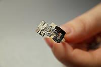 Кольцо женское серебряное с золотом.